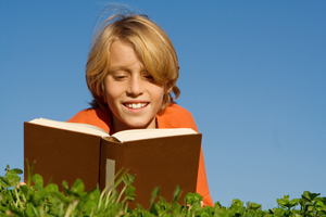 Boy reading in the sun