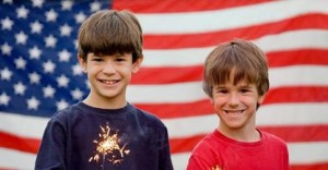 Boys and Flag