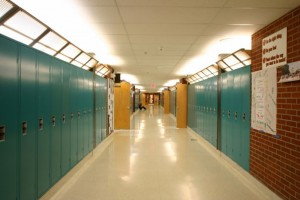 junior high hallway with lockers